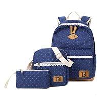 Topags Women's set Backpack + Handbag + Canvas dot case - Dark Blue - School Backpack