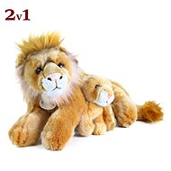 Rappa plush lion lying with cub, 40 cm