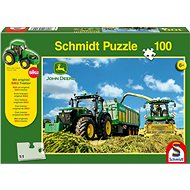 Schmidt Puzzle John Deere Traktor s řezačkou 100 dílků + model SIKU