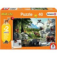 Schmidt Puzzle Schleich Divoká příroda 40 dílků + figurky Schleich - Puzzle