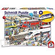 Schmidt Puzzle Na nádraží 60 dílků + dárek (přívěsek)