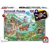 Puzzle Schmidt Puzzle V pirátské zátoce 100 dílků + dárek (pirátská vlajka) - Puzzle