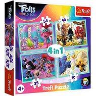Trefl Puzzle Trollové 2: Světové turné 4v1 (35,48,54,70 dílků) - Puzzle