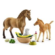 Schleich 42432 Set hříbě a Quarter kůň se štěňátkem a doplňky - Figurka