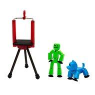 StikBot sada figurka + zvířátko se stativem – zelená a modrá - Figurka