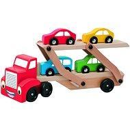 Woody Tahač s návěsem pro přepravu aut - Didaktická hračka