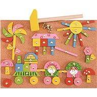 Woody Deska s přibíjecími tvary - Růžová - Didaktická hračka