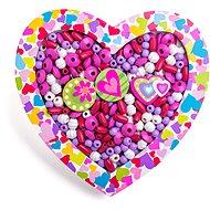 Woody Navlékací korálky - Srdce - Korálky
