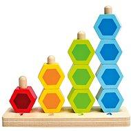 Hape Navlékací barevné šestiboké tvary - Dřevěná hračka