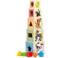 Woody Věž z 5ti kostek Zvířátka - Stavebnice