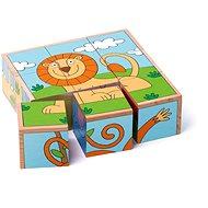 Woody Kubus 3 x 3 - exotická zvířata - Obrázkové kostky