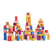 Dřevěné kostky Woody Stavebnice kostky přírodní a barevné v kartonu 100 ks, 2,5 cm
