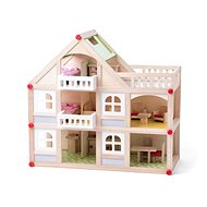 Woody Two-storey House with Balcony and Accessories - Doll House