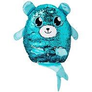 Flitrový medvídek s ocáskem - modrostříbrný velký - Plyšový medvěd