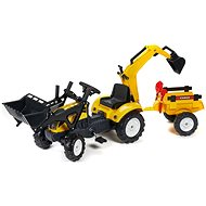 Traktor žlutý s přední a zadní lžící - Šlapací traktor