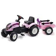 Traktor s valníkem - růžový - Šlapací traktor
