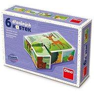 Dino Lesní zvířátka 6 kostek - Dřevěné kostky