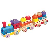 Barevný dřevěný vláček Maxi - Didaktická hračka