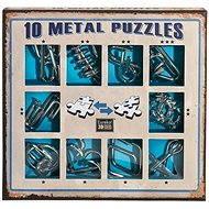 Sada 10 hlavolamů kov modrá - Hlavolam