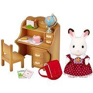 Sylvanian Families Nábytek chocolate králíků – sestra u psacího stolu se židlí - Herní set