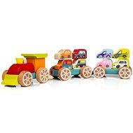 Cubika 13999 Vláček s auty  - Dřevěná hračka