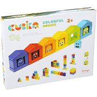 Cubika 14866 Barevné domečky  - Dřevěná hračka