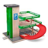 Woody Garáž s výtahem a SIKU autíčky - dřevo/plast - Garáž