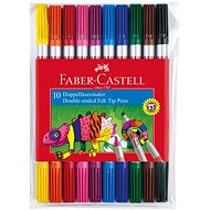 Faber-Castell Double-sided Markers, 10 Colours - Felt Tip Pens