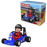 Igráček Závodník s motokárou - modrá - Figurka