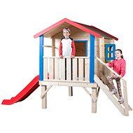 Woody Zahradní domek s podestou, zábradlím a klouzačkou - Dětský domeček
