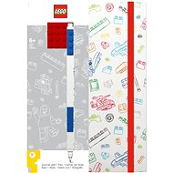 LEGO Stationery Zápisník A5 s modrým perem - bílý, červená destička 4x4 - Zápisník