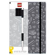 LEGO Stationery Zápisník A5 s černým perem - šedý, černá destička 4x4 - Zápisník