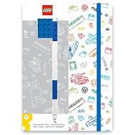 LEGO Stationery Zápisník A5 s modrým perem - bílý, modrá destička 4x4 - Zápisník