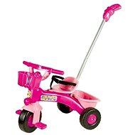 Tříkolka růžová s vodící tyčí - Tříkolka