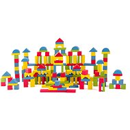 Woody Stavebnice kostky přírodní/barevné, 200 ks - Stavebnice