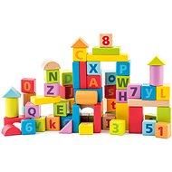 Woody Pastelové kostky s písmeny a číslicemi - Stavebnice