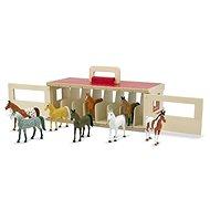 Melissa & Doug - Přenosná stáj s koňmi - Dřevěná hračka