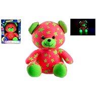 Teddies Medvídek svítící ve tmě růžovo-zelený  - Plyšák