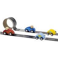 Silnice s dřevěnými autíčky - Dřevěná hračka