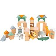 Dřevěná hračka Small Foot Dřevěné stavební kostky Safari 50 ks