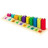 Dřevěná vkládačka s barevnými kostkami s čísly
