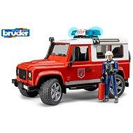 Bruder Užitkové vozy - hasičské auto Land Rover s hasičem