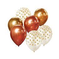 Sada latexových balónků - chromovaná růžovozlatá / rosegold 7 ks, 30 cm - Balonky