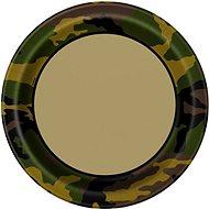 Talíře maskáč - voják - army - 22,5 cm - 8 ks - Jednorázové nádobí