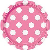 Talíře růžové puntík - 17 cm - 8 ks - Jednorázové nádobí