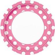 Talíře růžové puntík - 22 cm - 8 ks - Jednorázové nádobí