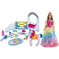 Barbie princezna a duhový jednorožec herní set - Panenka