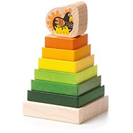 CUBIKA 15276 Coloured Pyramid with Hen - Wooden Puzzle 8 pieces