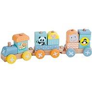 Sun baby dřevěná lokomotiva + 2 vagóny - Dřevěný model