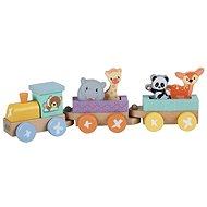 Sun baby dřevěná lokomotiva + 2 nákladní vagóny - Dřevěný model